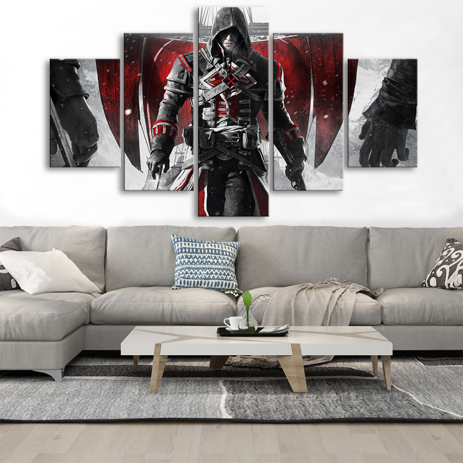 HD 5 Pieces Assassins Creed Canvas Paintings Large Video Games Wall Art Posters Prints Living Room Home Decoration Framework image