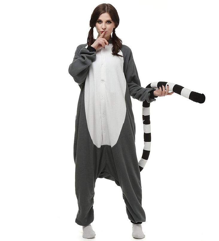 Polar Fleece Kigurumi Lemur Catta Onesie Adult Women Man Funny Jumpsuit Onepiece Overall Cosplay Costume