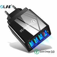 Chargeur rapide OLAF 3.0 chargeur USB pour iPhone X 4 Ports chargeur adaptateur téléphone portable pour Samsung A50 A70 48W QC 3.0 chargeur rapide