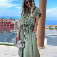 Women Vintage Front Button Mid Dress Solid Sashes V-neck Short Sleeve Casual Belt Waist Patchwork Office Lady Summer Sundress