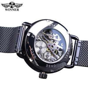 Image 4 - Winner relojes mecánicos para hombre, correa de malla de acero inoxidable analógica, de cuerda a mano, delgada, Simple