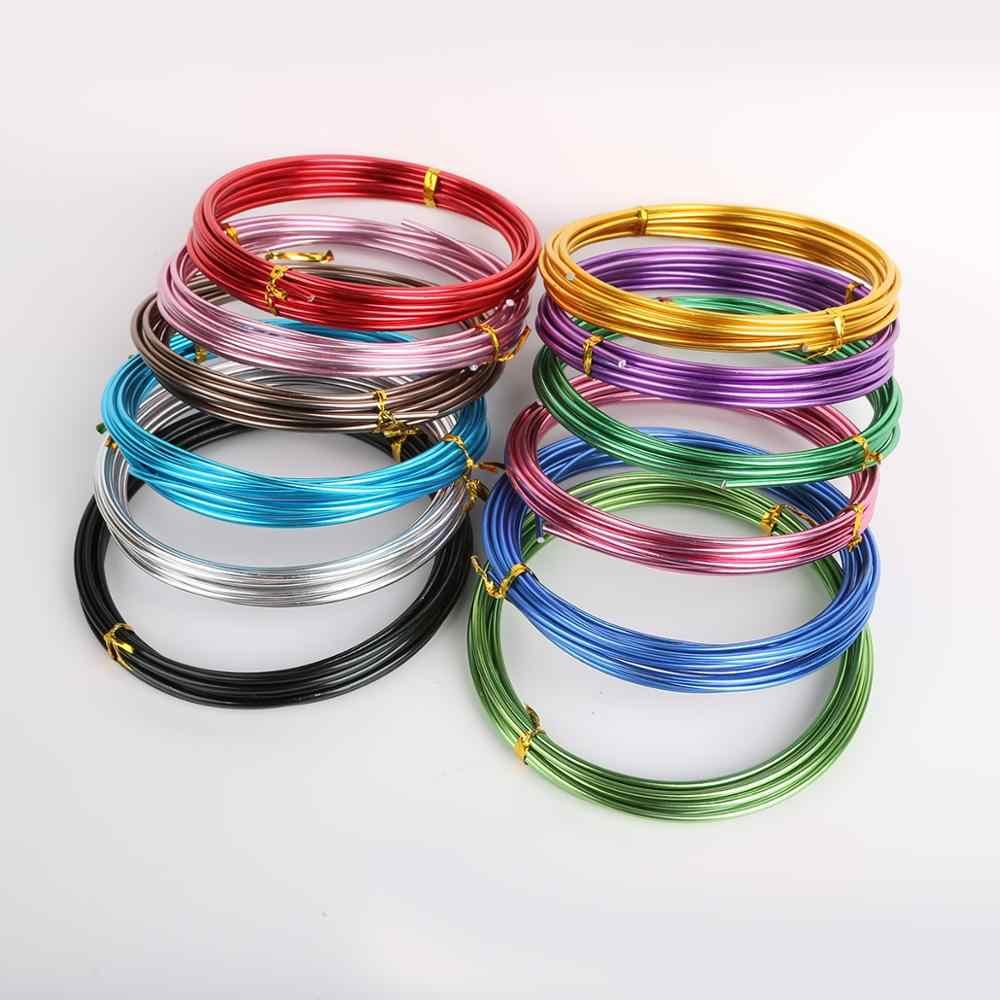 2mm liga anodizado em volta de alumínio fios de fio de miçangas para fazer jóias diy artesanato brinco artesanal corda acessórios