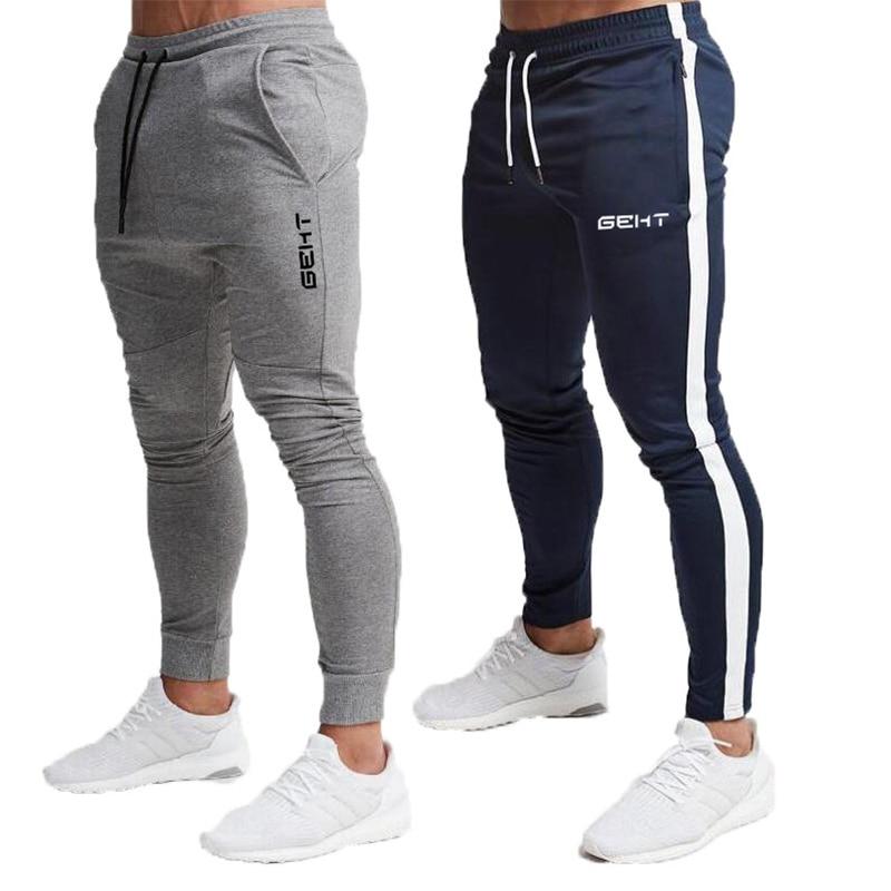 2019 Fashion Men Gyms Pants Joggers Fitness Casual Long Pants Men Workout Skinny Sweatpants Jogger Tracksuit Cotton Trousers