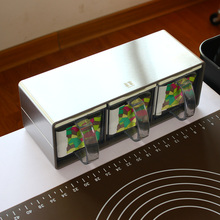 High Grade StainlessSsteel Panel Seasoning Box Plastic Pot Set Salt Condiment