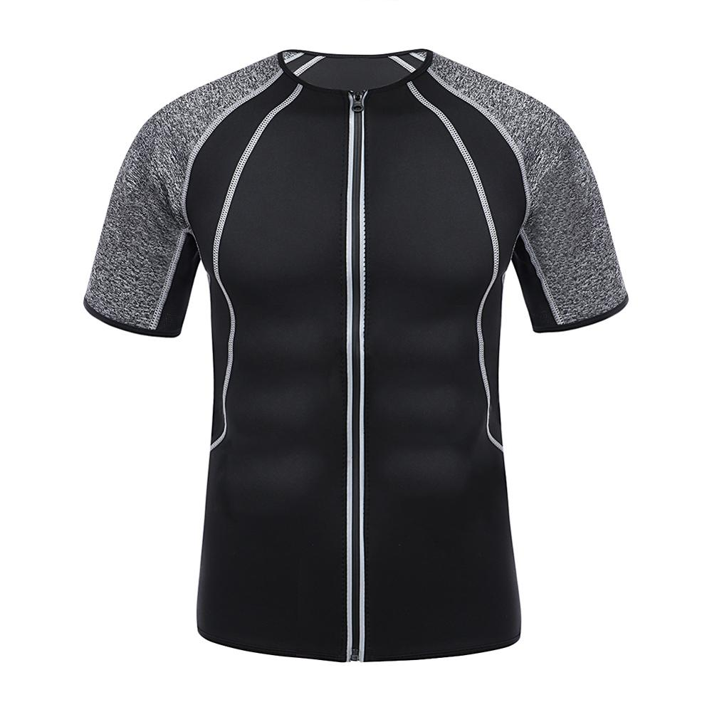 2019 Sweat <font><b>Neoprene</b></font> Men <font><b>T</b></font> <font><b>shirt</b></font> Slimming Body Shaper Thermal Trainer Clothing Zipper Winter Men Sport Shapewear image