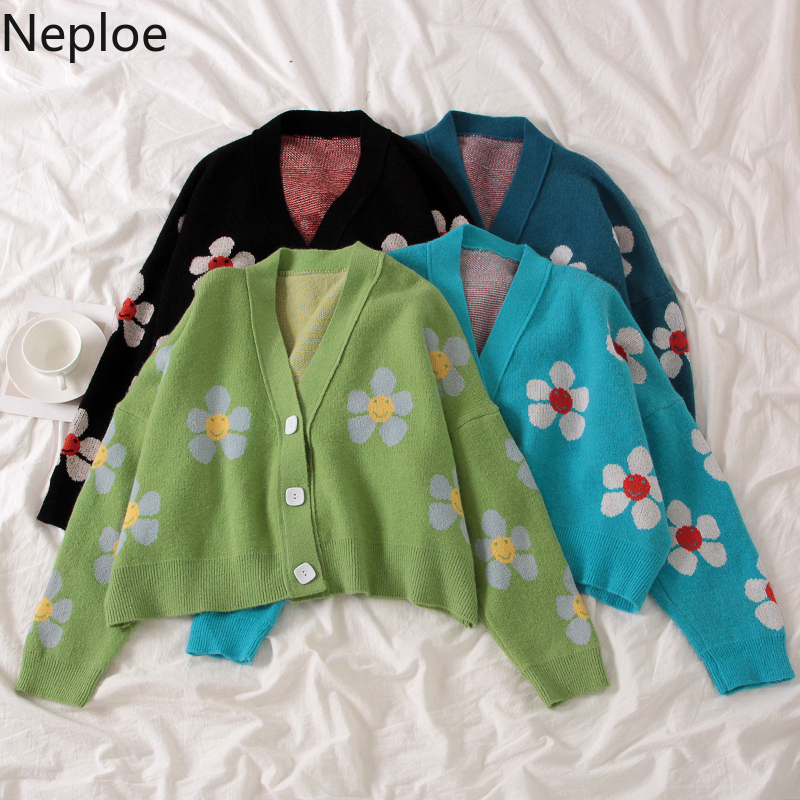 Neploe Preppy Style Flower Knit Cardigans Sweater Women V Neck Loose elegaht Thicked Pull Femme Print Short Casual Coat 46565(China)
