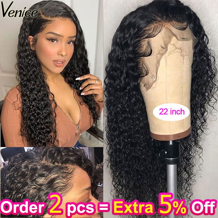 Venice Hair Curly 13x6 Lace Front Human Hair Wigs For Black Women 370 Lace Frontal Wig With Baby Hair Pre Plucked 150% Remy Hair