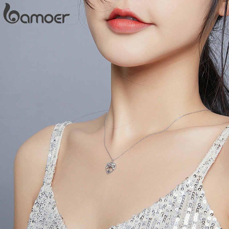 Bamoer 925 ayar gümüş radyant temizle CZ hayat ağacı kalp kolye kolye kadınlar için aile hediyeler güzel takı BSN176