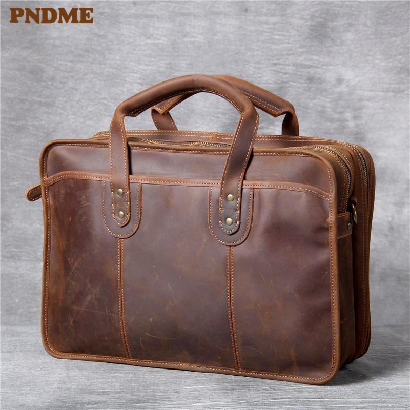 PNDME Vintage Large-capacity Crazy Horse Cowhide Men's Briefcase Handbags Luxury Genuine Leather Laptop Shoulder Messenger Bags