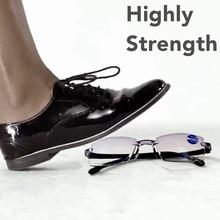 Высокопрочные очки для чтения, мужские, анти-синий светильник, портативные, без оправы, женские, дальнозоркие, бифокальные очки Tr90 Gafas, ультра светильник 150