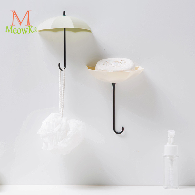 MeowKa 3pcs/lot Umbrella Wall Adhesive Nail-free Hook/decorative Small Items Single Hook