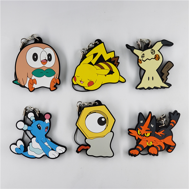 Pocket Monsters Anime Pikachuu Rowlet Cute Rubber Keychain
