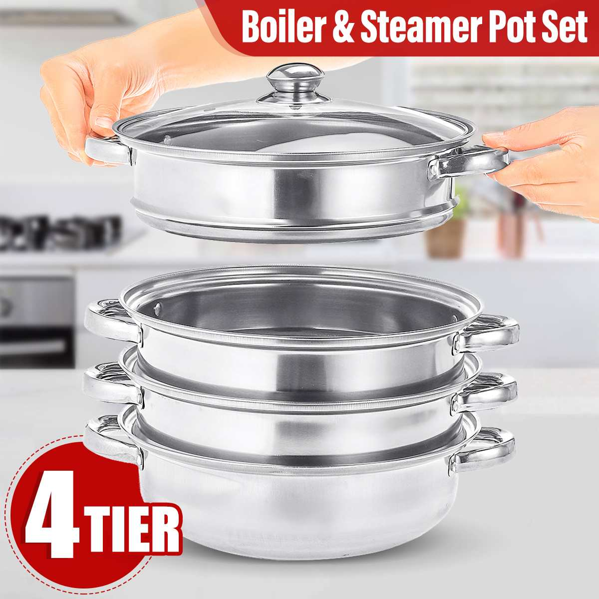 Steamer Pot Cooking-Pots Induction-Cooker Soup Stainless-Steel Thick for 4-Tier Three-Layer