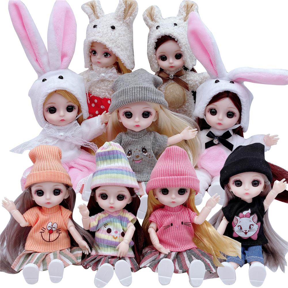 2020  16CM Doll 13 Movable Joints Casual Fashion Princess Clothes Suit Accessories Nude Decoration Multicolor Hair Girl Gift Toy