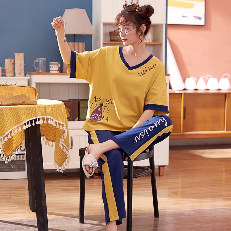 New Lazy Princess Style 2020 Spring Summer Cotton Women Pajamas Set Cute Short Sleeve Women Sleepwear Long Pant Simple Pajamas