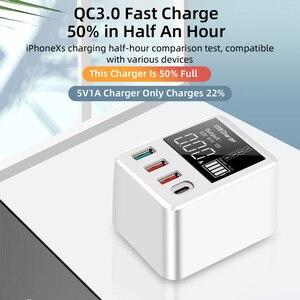 Image 5 - 30W téléphones chargeur rapide QC 3.0 Micro USB Type C adaptateur secteur affichage LED 3 Ports USB + 1 Port type c pour iPhone Android adaptateur