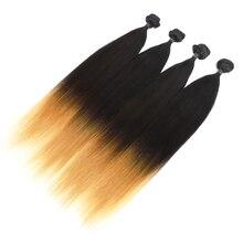 Красивые Натуральные Прямые волосы, пряди, 4 пряди/упаковка, 24 дюйма, 200 г, синтетические волосы, волнистые пряди, цвет Омбре, наращивание волос