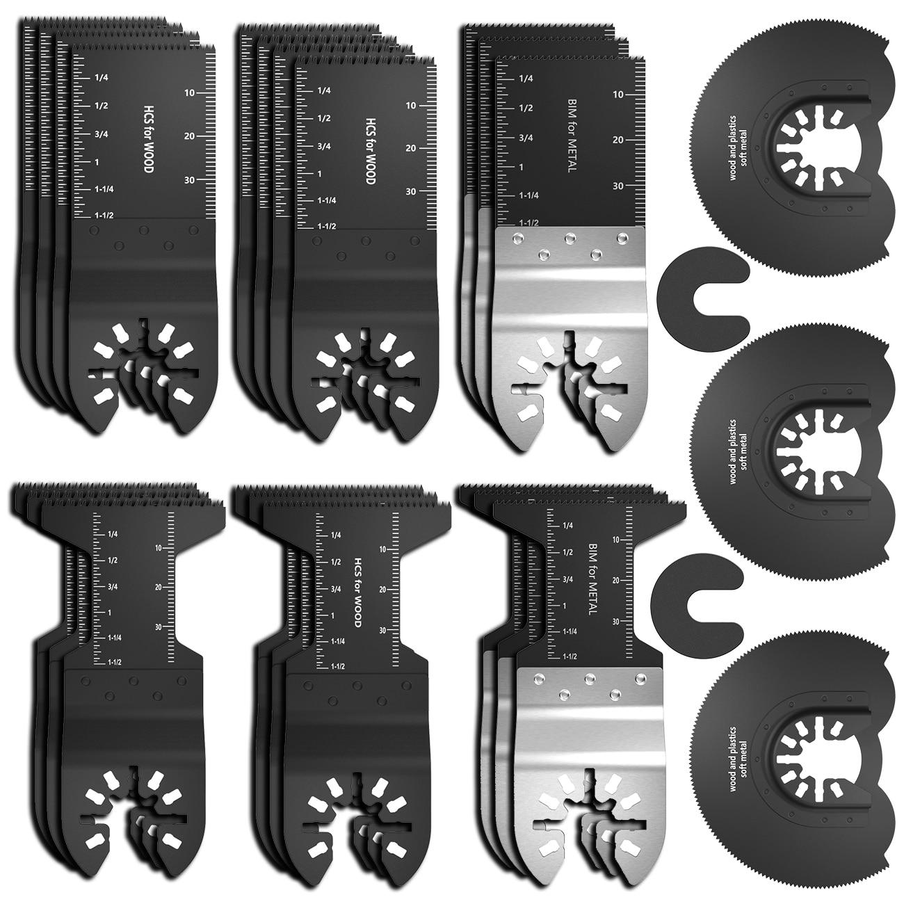 25Pcs/Set Oscillating Multi Tool Saw Blade Multi-Function Cutting Wood Tools For Renovator Power Cutting Multimaster Tools
