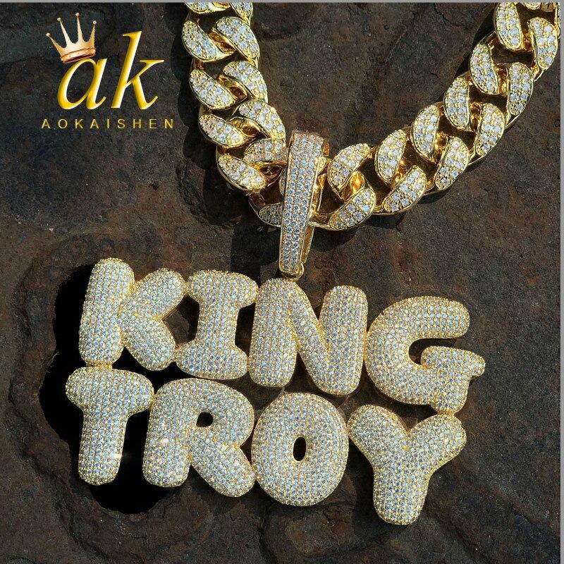 Nom personnalisé bulle lettres pendentifs colliers hommes Zircon Hip Hop bijoux avec 20MM chaîne cubaine