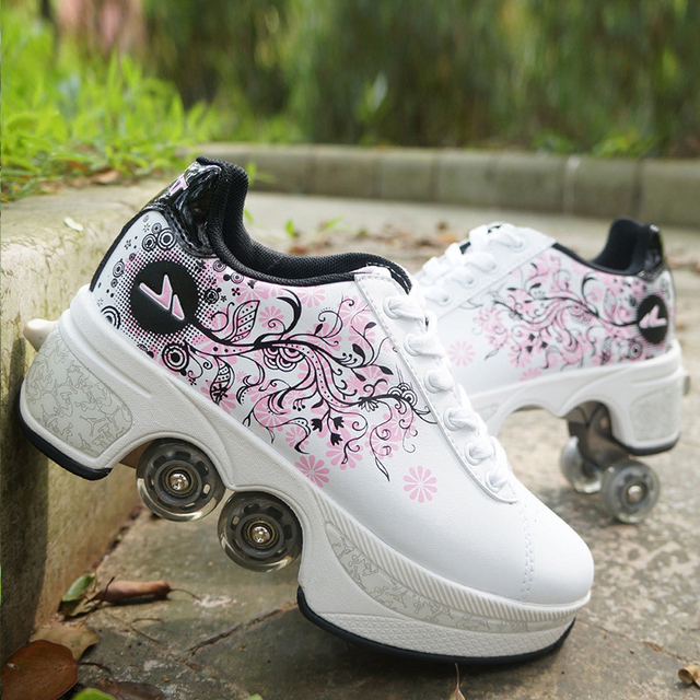Deformation Parkour Shoes Four wheels Rounds of Running Shoes Roller Skates shoes adults kids unisex 5