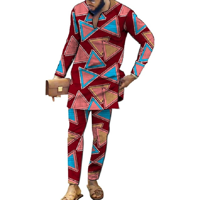 African Fashion Men's Sets V-neck Shirts Patch Trousers Nigerian Print Male Pant Suits Party Wear Customized