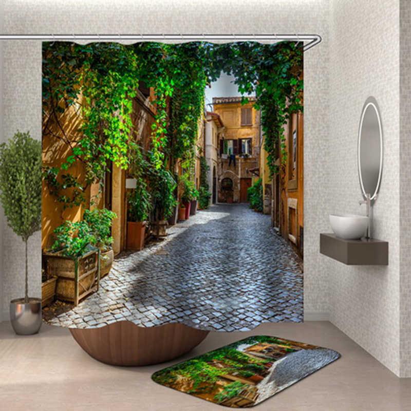 pergola dusche vorhang grune blatter galerie rideau de douche bauernhaus bad vorhang cortina ducha flora stein strasse vorhang duschvorhange aliexpress