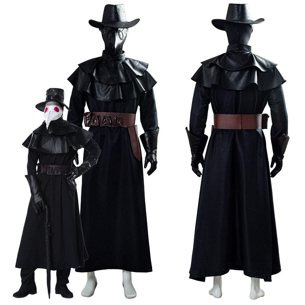 Steampunk Plague Doctor Cosplay Costume Halloween With Bird Beak Mask Long Robe Cape Outfits Custom Made For Adult men