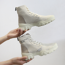 купить Retro Martin Women Boots Female Ankle Boots Military Hiking Boots Breathable High-top Sports Shoes Height Increased Casual Shoes онлайн