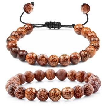 Браслет из деревянных бусин, мужской браслет из деревянных бусин, исцеляющий крест Будды, шлем-сова, 7 чакр, браслеты с бусинами, Женские Ювел...
