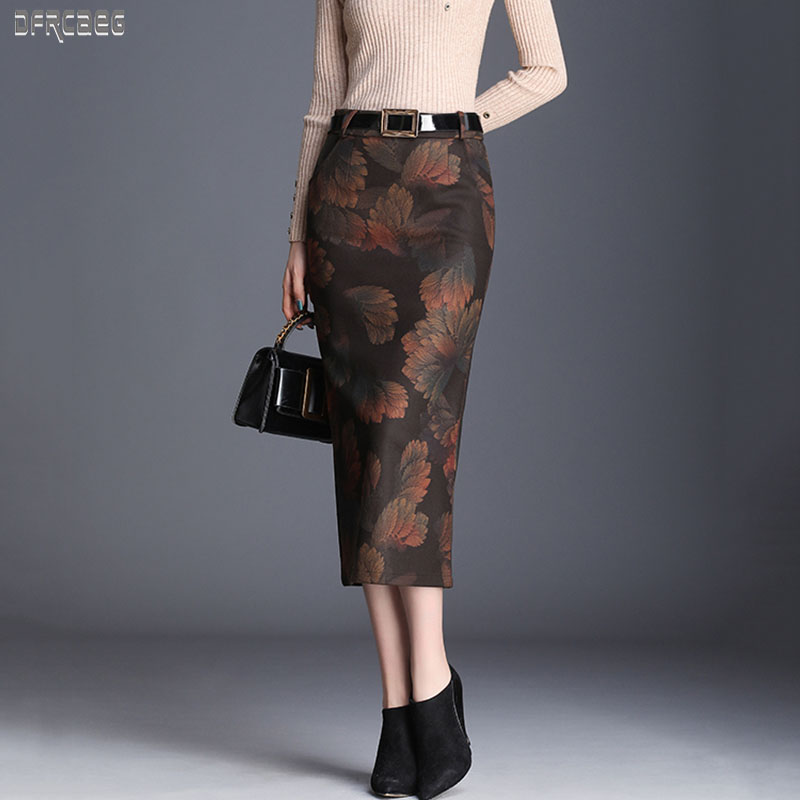 2019 New Autumn Elegant Womens Mid-Calf Pencil Wool Skirt Winter Slim Fit Women Long Hip Skirt Black Side Split Wool Skirt Femme