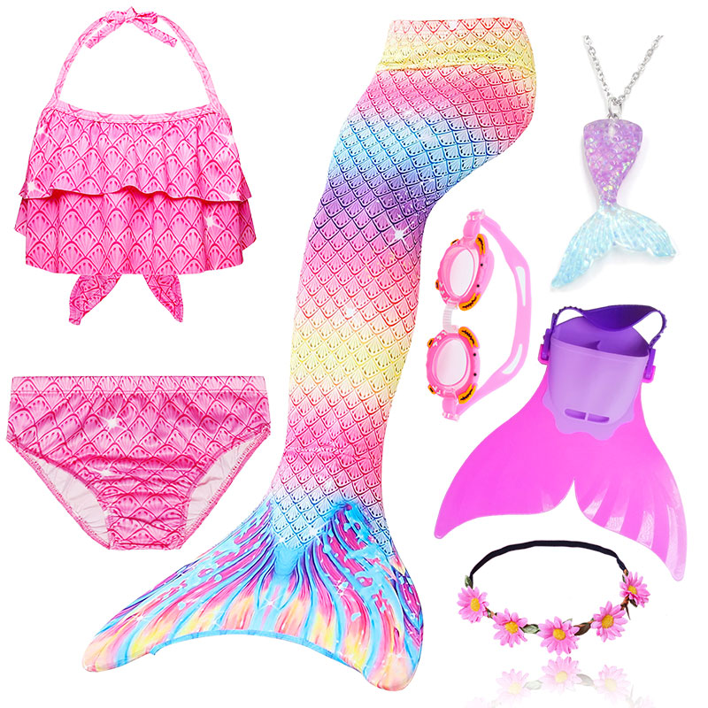 28 Colors Children Mermaid Tail with Swimming Fin Kids Mermaid tails for Swim Girls Ariel Cosplay Costumes Swimmable Swimsuit