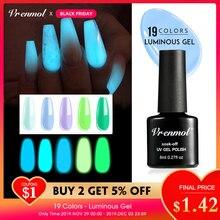 Vrenmol 1 шт флуоресцентный неоновый Светящийся лак для ногтей гибридные Лаки дизайн ногтей акриловый гель ночной светящийся в темноте УФ Гель-лак для ногтей