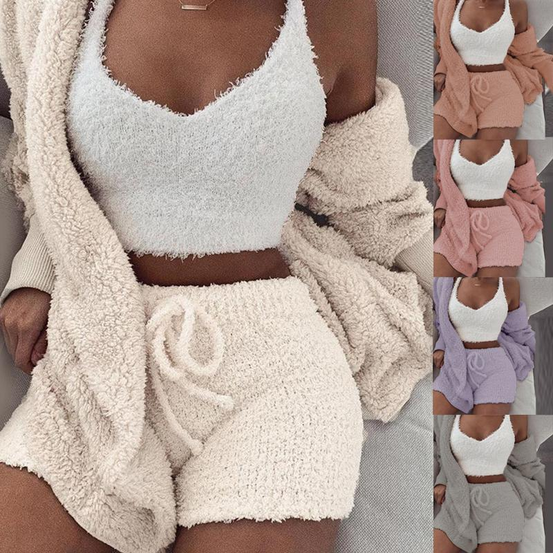 3PCS/Sets Sexy Fluffy Suits Hooded Coral Velvet Plush Coat+Shorts+Crop Top Women Tracksuit Casual Sports Overalls Sweatshirts