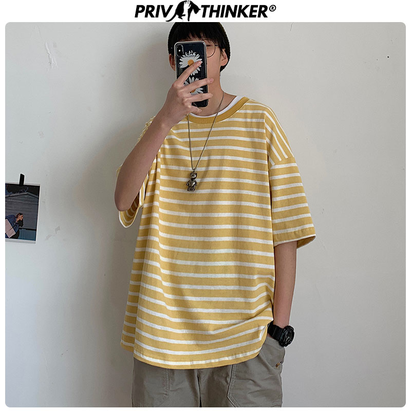 Privathinker Men'S Striped T Shirts Women Can Wear Summer Olorful 2020 Street Style Tees Male Oversize Loose Korean T-shirts