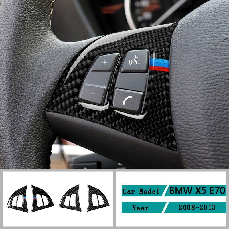 Carbon Fiber Car Accessories Interior Steering Wheel Button Modification Cover Trim Stickers For BMW X5 E70 2008-2013