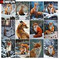 Алмазная 5D картина HOMFUN «Лисий Зимний лес», вышивка из смолы, «сделай сам», ручная работа, вышивка крестиком, подарок