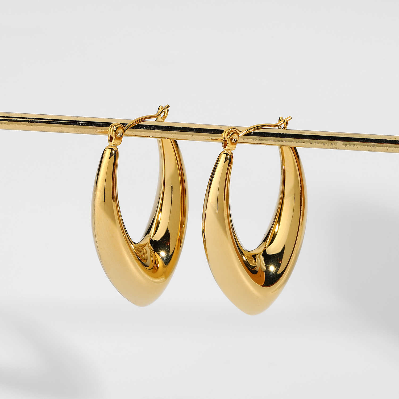 18K plaqué or rempli en acier inoxydable fashion ovale Femmes Boucles D/'oreilles Créoles
