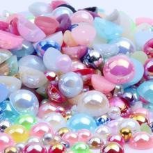 Смешанные размеры 2345 мм 1000 шт/партия полукруглые ABS имитация жемчуга бусины AB цвета плоские бусины для дизайна ногтей свадебное платье