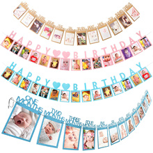 12 Months Photo Frame Banner My 1 One Year Babys First Birthday Banner party Decorations 1st Baby Boy Girl Party Supplies 12 months photo frame banner first birthday decorations 1st baby boy girl my 1 one year party supplies gold pink blue