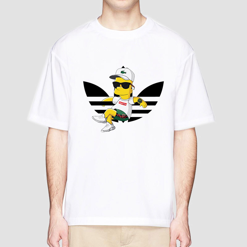 Homme Short Sleeve T-Shirts The Simpson Family Mens Casual Tee Shirts Fitness Clothing