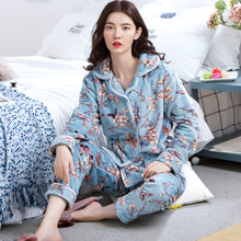 2020 Autumn Winter Warm Flannel Women Pajamas Sets Thick Coral Velvet Long Sleeve Cartoon Sleepwear Flannel Pyjamas Set for Girl