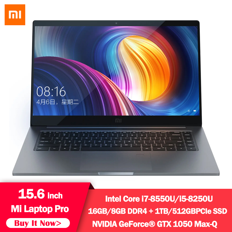 Original Xiaomi Notebook Pro 15.6 Inch GTX 1050 Max-Q 4GB GDDR5 Laptop I7-8550U/i5-8250U 1TB / 256G SSD Game Office Computer