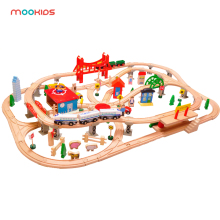 Mookids Creative toys childrens educational kids like very 130 Wooden track can be matched with electric small train set