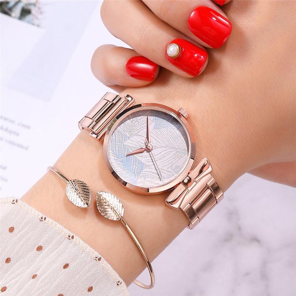 Quartz Wrist Watches Women Fashion Casual Ladies Dress Watch Watch Watch Leaves Pattern Steel Strap Bracelet Relogio Feminino