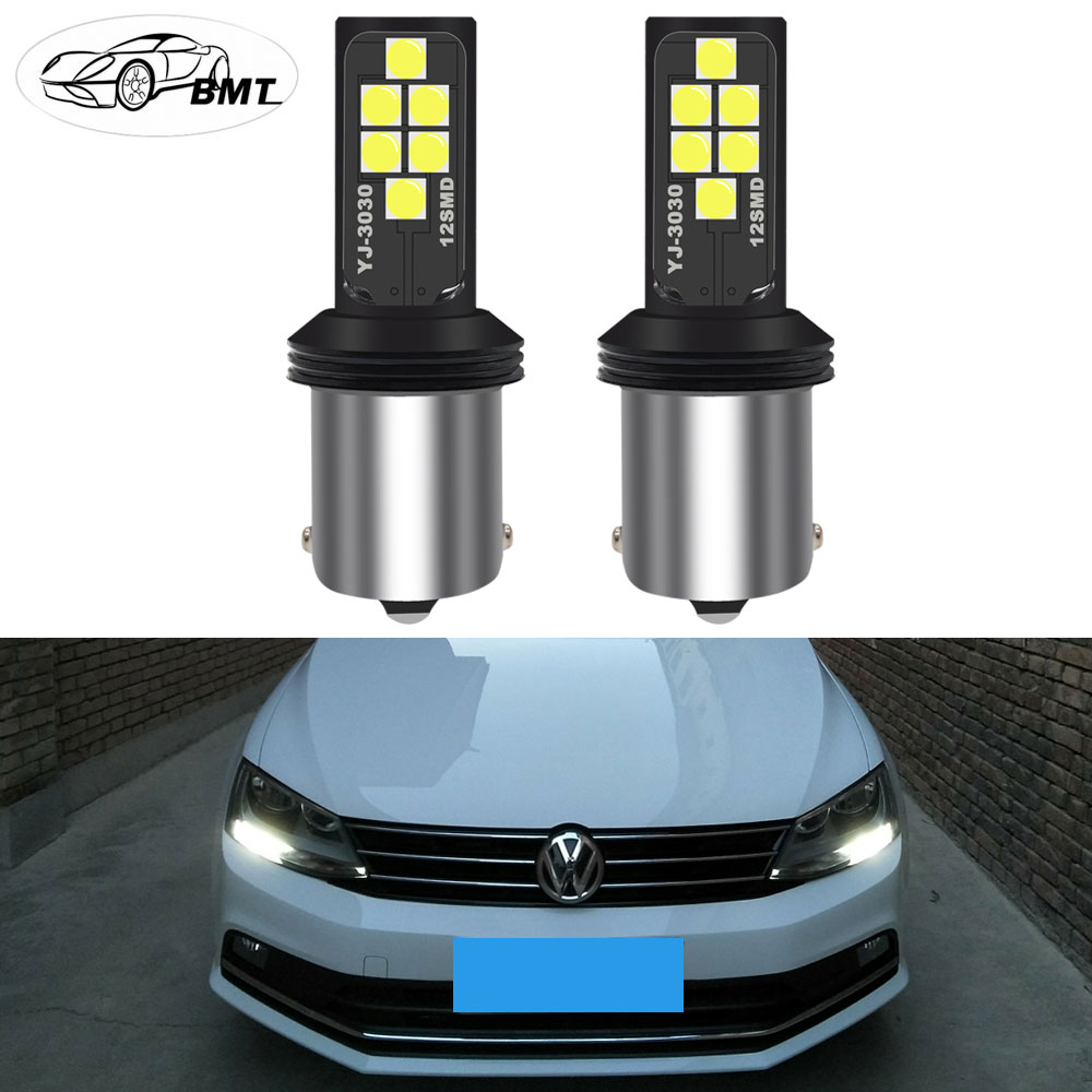 BMT CANbus Error Free 1400 Lumens HID White 1156 P21W <font><b>LED</b></font> <font><b>Bulbs</b></font> for Volkswagen VW MK6 Jetta DRL Daytime Running Lights 2011-2017 image