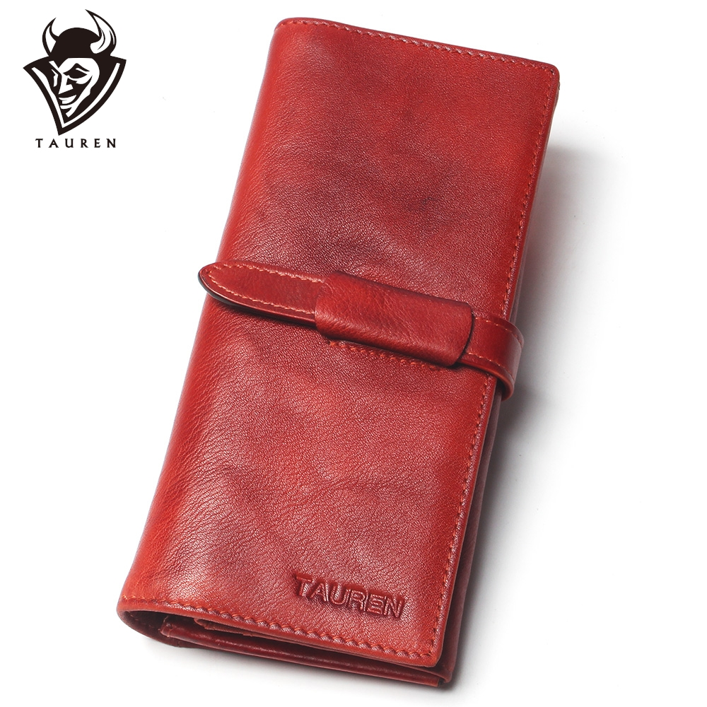 Dip Dye Color RFID Classic 100% Genuine Leather Natural Leather Men & Women Long Wallet Coin Purse Vintage Designer Male Wallets