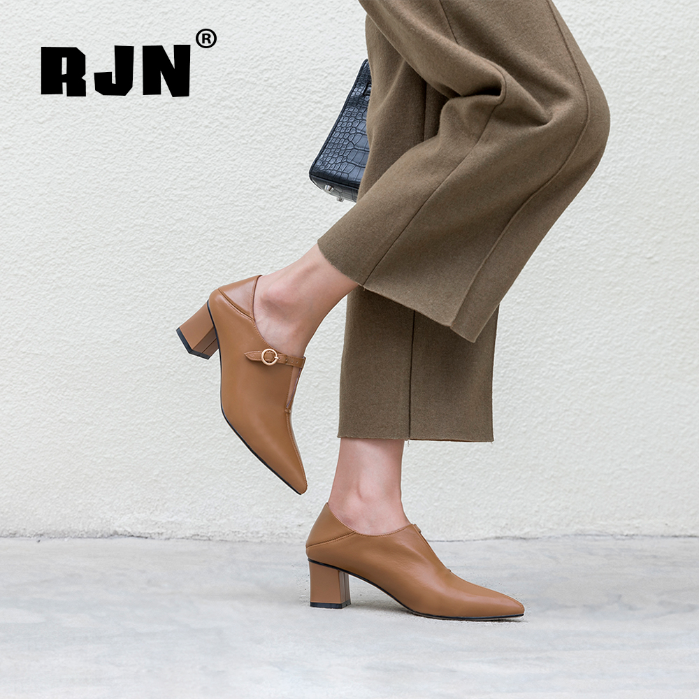 Cheap RJN Genuine Leather Women Pumps Sexy Pointed Toe High Square Heel Stylish Buckle Decoration Slip-On Ladies Pumps For Job RO30