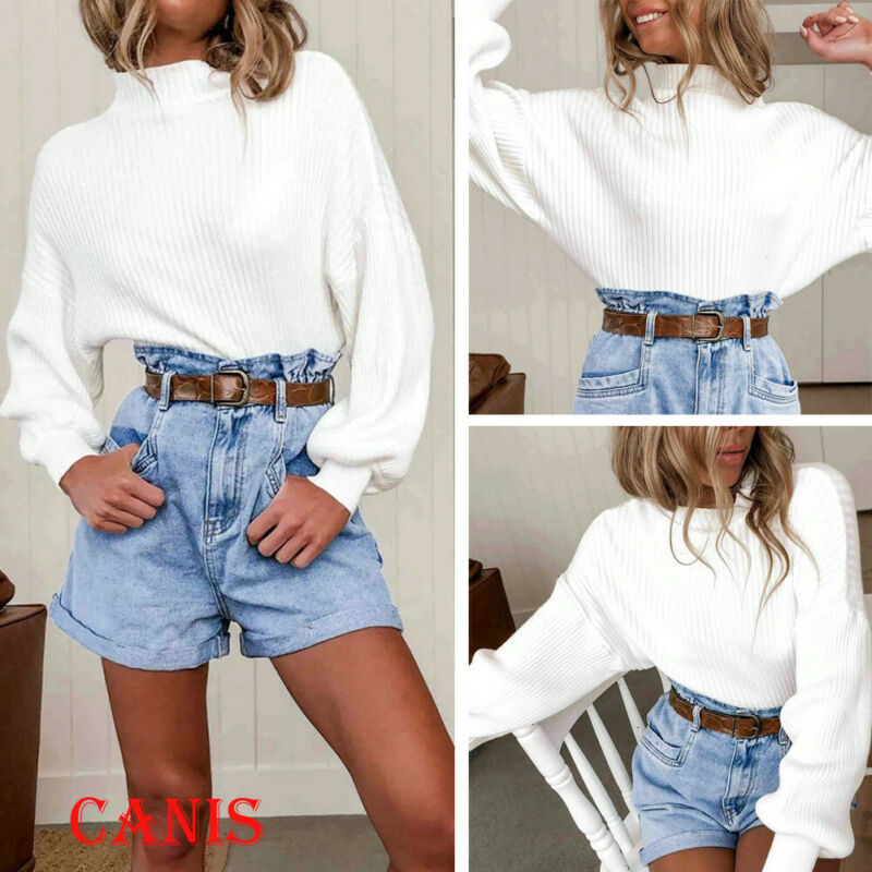 Autumn Winter Women Knitted Turtleneck Sweater Batwing Sleeve Casual Soft Solid White Jumper Fashion Slim Elasticity Pullovers