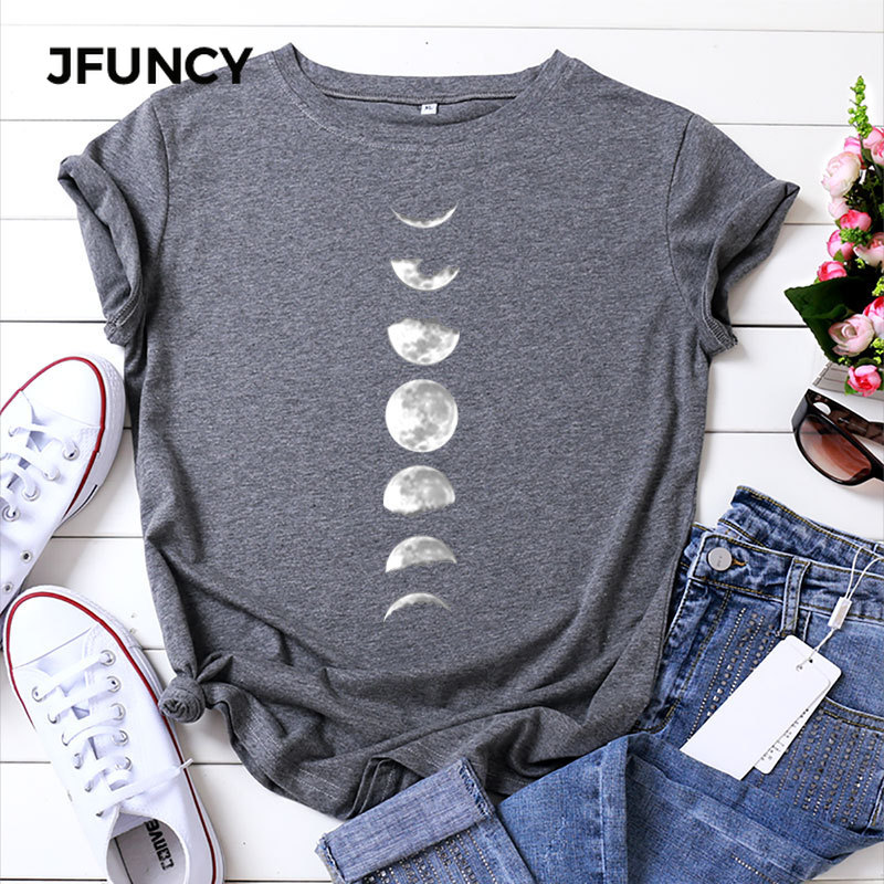 JFUNCY Plus Size Tshirt S-5XL New Moon Print T Shirt Women 100% Cotton O Neck Short Sleeve T-Shirt Tops Summer Casual Shirts