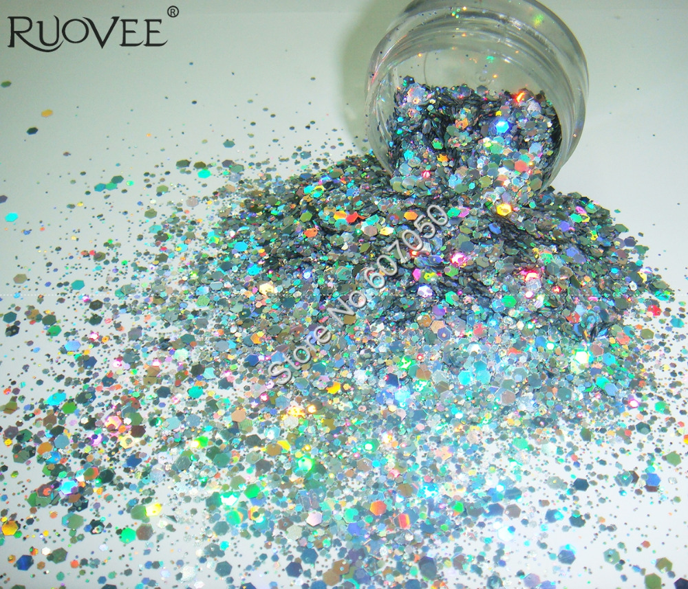 Wholesale Holographic Laser Silver Color Nail Glitter Mix Hexagon Paillette Spangle Powder Shape for Nail Art Glitter Craft Deco
